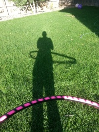 My shadow hooping, my first day home with my new hoop.
