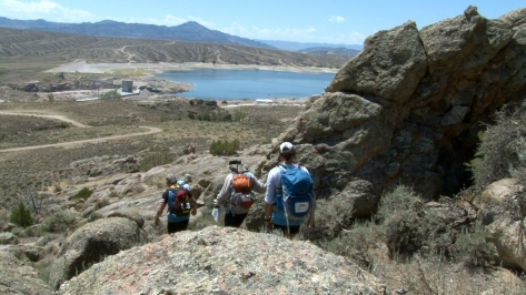The team hikes around Pathfinder Dam with temperatures nearing 103 degrees. They would trek about 80-90 miles during the race.
