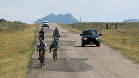 The team bikes from Miracle Mile to Alcova on the third day, one of about 200 miles they would bike throughout the race.