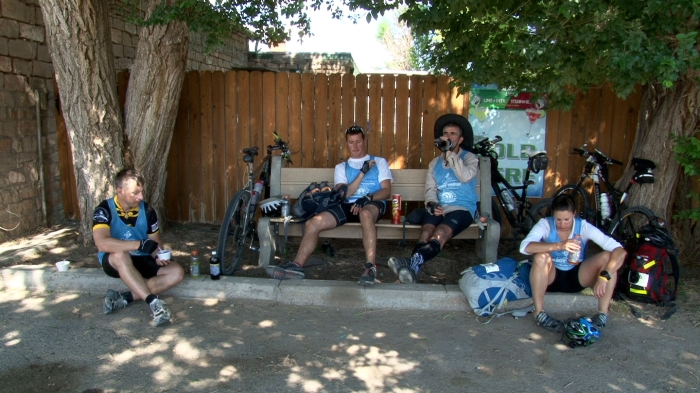 Team members enjoy a much deserved rest at Alcova.