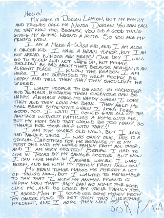 Dorian dictated this letter to his mother for animal gift bags delivered to Metro Animal Shelter. Click to enlarge.