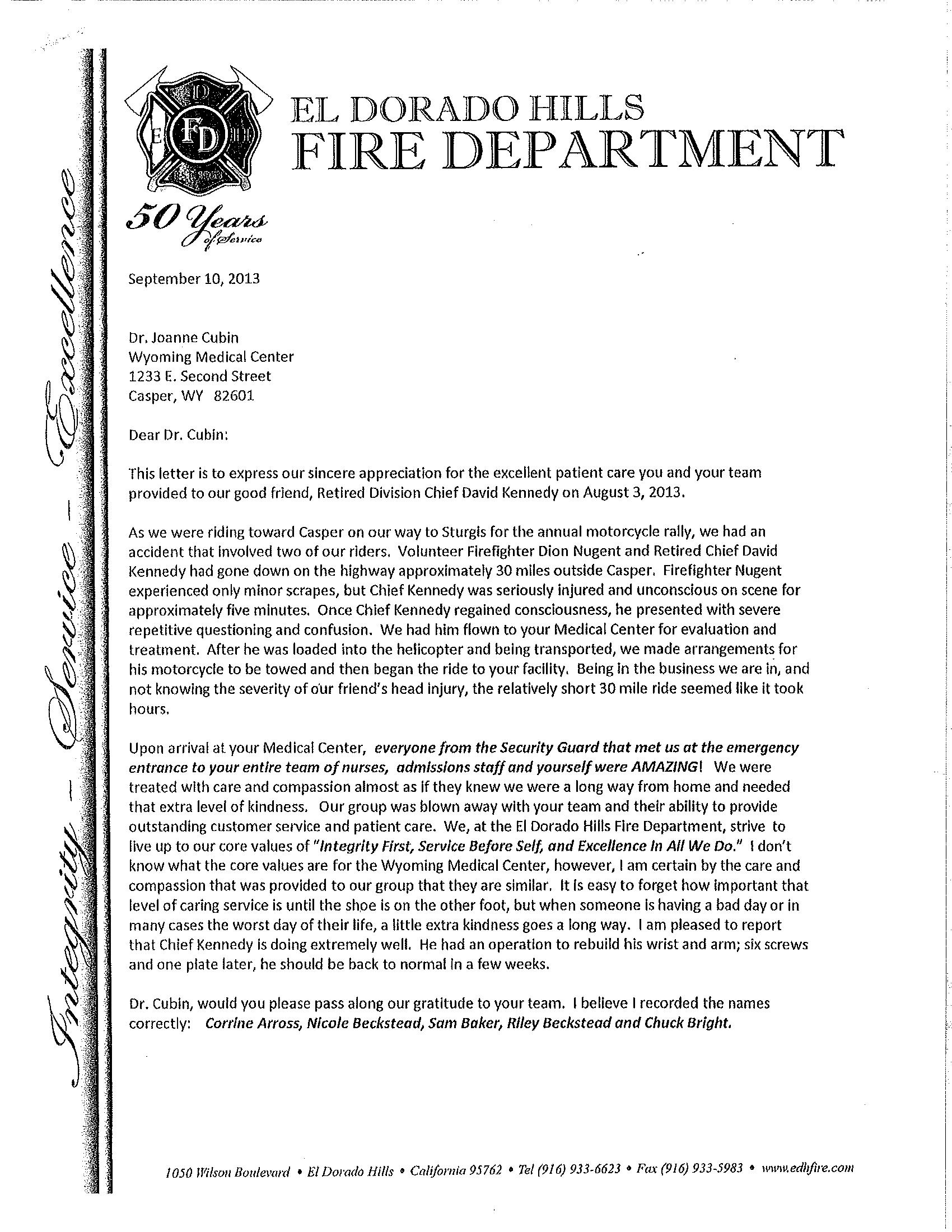appreciation the pulse el dorado fire letter